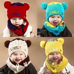 mũ khăn len siêu ấm cho bé