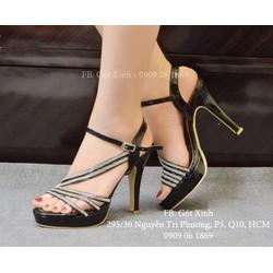 Giày cao gót đính hạt 3 quai chéo màu đen-GX330