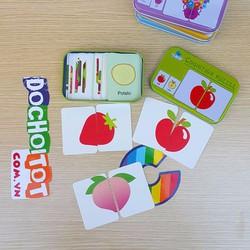 Hộp ghép hình flashcard theo chủ đề hoa quả