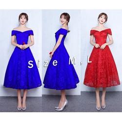 Đầm ren xòe dáng dài trể vai xinh xắn - VD513