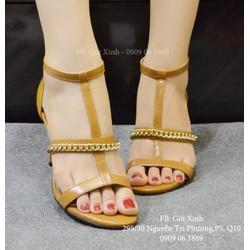 Sandal cao gót quai ngang xích sang trọng nâu-GX318