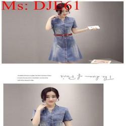 Đầm jean nữ công sở dáng xòe màu xanh nhạt trẻ trung DJE61