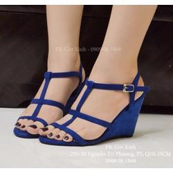 Sandal đế xuồng 3 quai ngang 7 phân xanh coban - GX337