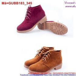 Giày boot nữ da lộn thắt dây trẻ trung năng động GUBB183