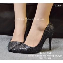 Giày cao gót mũi nhọn kim tuyến đen tuyền quyến rũ-GX400