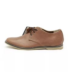 Giày buộc dây cổ thấp da dầu màu nâu nhạt