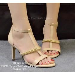 Sandal cao gót quai ngang xích sang trọng kem-GX316