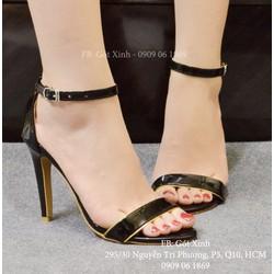 Giày cao gót quai ngang viền vàng da bóng-GX326