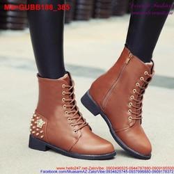 Giày boot chiến binh cổ cao đan dây nạm đinh bụi bặm GUBB188