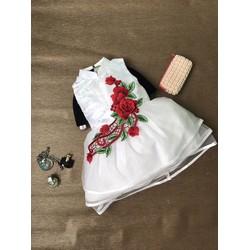 Đầm phi cổ tàu hoa ren