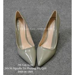 Giày cao gót mũi nhọn trơn 9 phân xám rêu-GX306