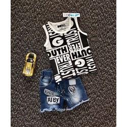 Bộ quần jean chữ áo thun lạnh cao cấp cho bé 1-8 Tuổi _CBT21879