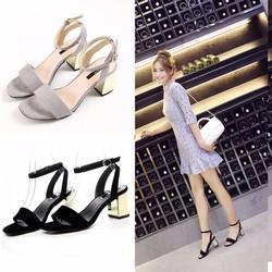 Giày gót vuông ánh kim
