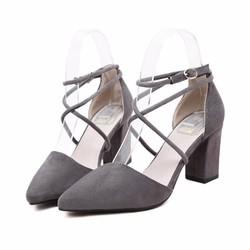 Giày cao gót dây cột chéo da lộn GF51003414