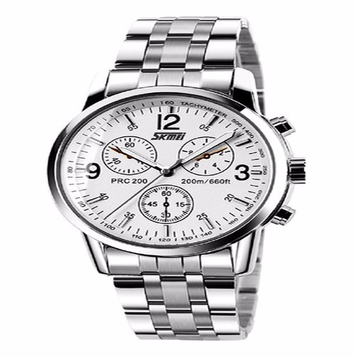 Đồng hồ nam kim loại viền trắng 3