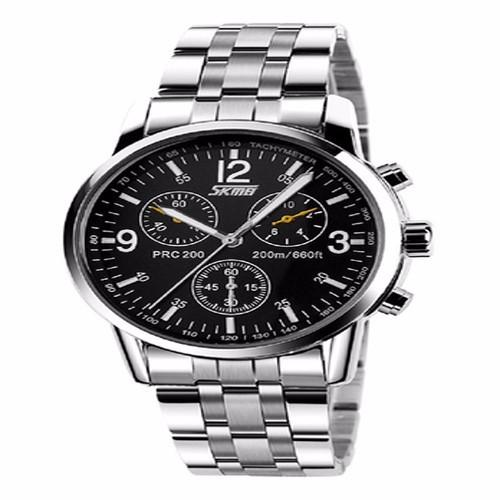 Đồng hồ nam kim loại viền trắng 2