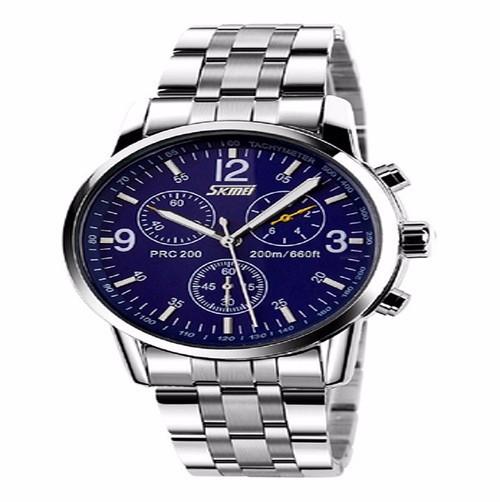 Đồng hồ nam kim loại viền trắng 1