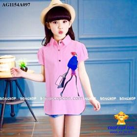 23-45kg. Áo sơmi hình cô gái shopping màu hồng - AG1154A097
