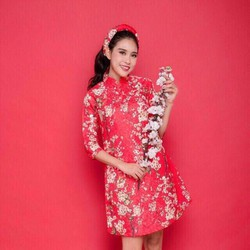Đầm suông cổ Tàu họa tiết hoa đào - NR97