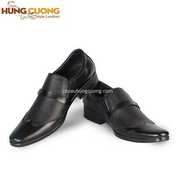 Giày tây da bò thật cao cấp Hùng Cường màu đen HC1021