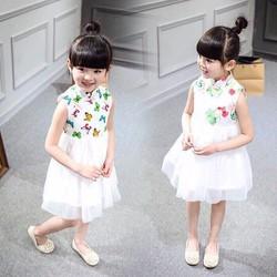 Váy công chúa bướm xinh in 3d lung linh 8-24kg hàng vnxk