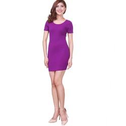 Đầm body tay ngắn màu tím