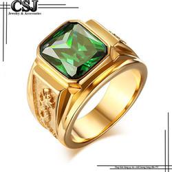 Nhẫn inox nam màu vàng đá xanh lá cây thời trang mẫu N565