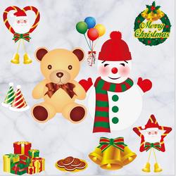 Decal người tuyết Noel và gấu bông