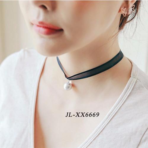 Vòng cổ Choker Tatoo dây đen ngọc trai xinh xắn JL-XX6699