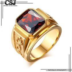 Nhẫn inox nam màu vàng đá đỏ thời trang mẫu N564