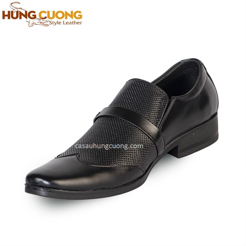 Giày tây da bò thật cao cấp Hùng Cường màu đen HC1021 3