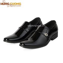 Giày nam da bóng cao cấp Hùng Cường màu đen HC1026