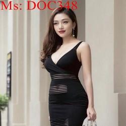 Đầm ôm dự tiệc cổ V 2 dây sexy thiết kế mới lạ DOC348