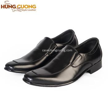 Giày tăng chiều cao da bò thật cao cấp Hùng Cường màu đen HC1031