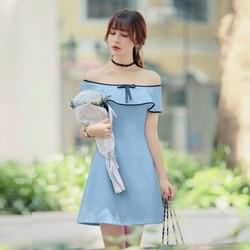 Đầm xòe bẹt vai bèo nhẹ viền siêu xinh