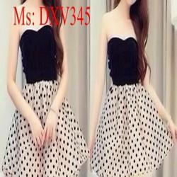 Đầm xòe cúp ngực phối cùng chân váy liền chấm bi dễ thương DXV345