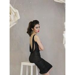 Đầm đen hở lưng đẹp thiết kế ôm body cực tôn dáng M3975