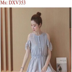 Đầm xòe công sở kiểu rớt vai xinh xắn DXV353