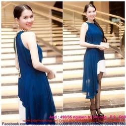 Đầm maxi vạt xéo thiết kế mới lạ như Ngọc Trinh DDH136