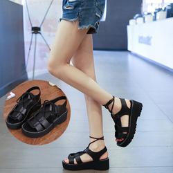 Giày sandal nữ da mềm đế cao cột dây cao 5cm màu đen