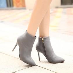Giày boot nữ cổ ngắn da lộn thanh lịch GBN5802