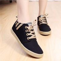 Giày vải gót phối sọc thời trang - LN443