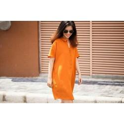 Đầm sơ mi màu cam thời thượng