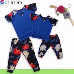 Bộ đồ lửng họa tiết hoa bé gái - Hoa đỏ trắng - CIRINO