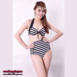 Bộ Bikini Thun Hàn Quốc Cao Cấp Sọc Trắng Đen Evabkn105