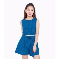 Set áo crop top phối quần short - Caro Xanh - CIRINO