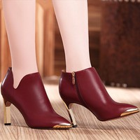 Giày Boot nữ da khoét eo cao cấp - LN441