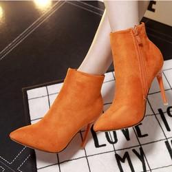 Giày boot nữ da lộn màu cam cực quyến rũ GBN5801