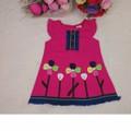 Đầm Hồng Thêu Hoa Cho Bé Gái