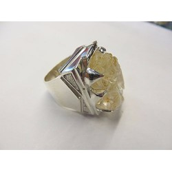 Nhẫn bạc nam - Tỳ hưu đá thạch anh vàng F ngón tay 1,8 cm